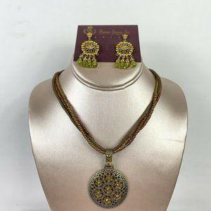 Premier Designs Cord Beaded Necklace Drop Earrings